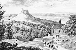 Die Burg Hohenzollern vor ihrem historischen Neubau (1850 - 1867) auf einem Stahlstich um 1840